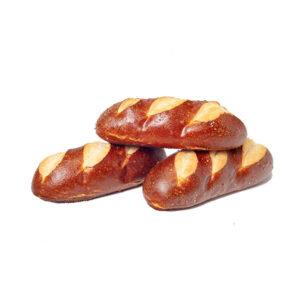 PRETZEL HOT DOG BUN 6″ L x 1.5″ W w 3 CUTS